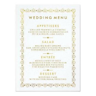 Art déco d'or épousant la carte de menu carton d'invitation  16,51 cm x 22,22 cm