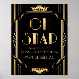 Art déco du signe | Gatsby de mariage de Hashtag