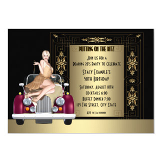 Art déco hurlant la fête d'anniversaire des années carton d'invitation  12,7 cm x 17,78 cm