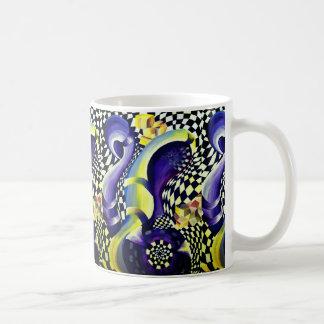 Art déco - jaune abstrait et violette de diffusion mug