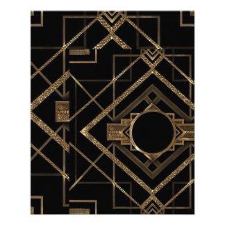 Art déco, nouveau, cru, noir, or, chic, élégant, prospectus 11,4 cm x 14,2 cm