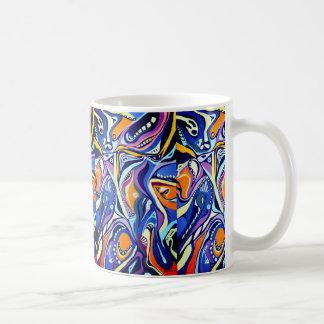 Art déco peignant le motif, le bleu et l'orange mug