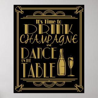 Art déco son heure de boire du champagne affiches