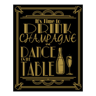 Art déco son heure de boire du champagne posters