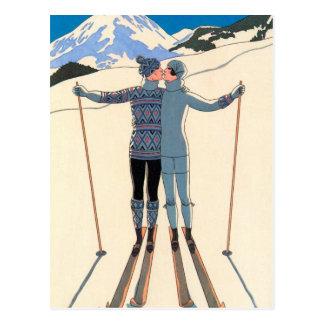 Art déco vintage, amants dans la neige par George Carte Postale