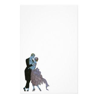 Art déco vintage, danse de mariage d'amour de papiers à lettres