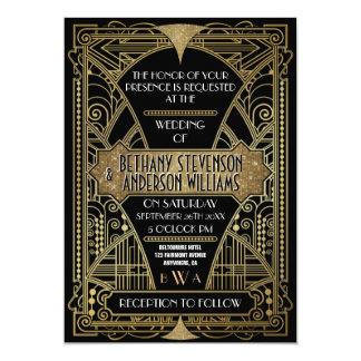 Art déco vintage de noir et d'or épousant des carton d'invitation  12,7 cm x 17,78 cm