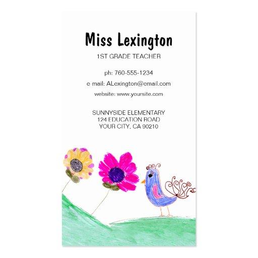 Art d'enfant, cartes de visite de professeur cartes de visite personnelles
