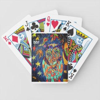 art deux de chute de hibou jeu de cartes