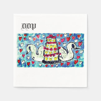 Art deux de gâteau de mariage serviettes en papier