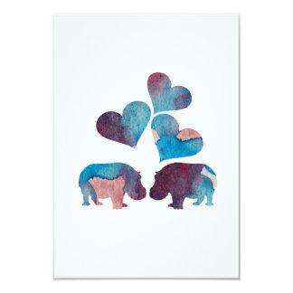 Art d'hippopotame carton d'invitation 8,89 cm x 12,70 cm