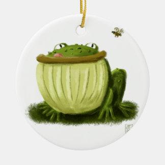 Art d'illustration de grenouille mugissante et de ornement rond en céramique