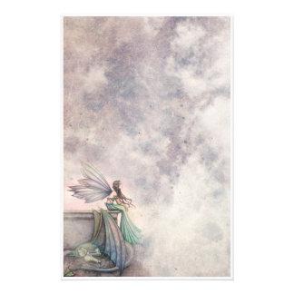 Art d'imaginaire de fée et de dragon stationnaire papier à lettre customisable