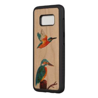 Art d'oiseau de deux martins-pêcheur coque en bois samsung galaxy s8