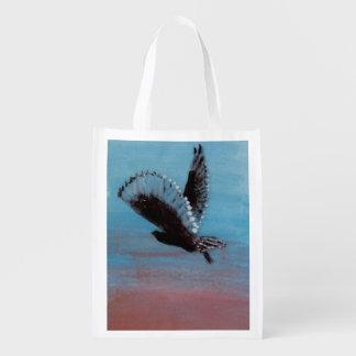 Art d'oiseau de lever de soleil de hibou cabas épicerie