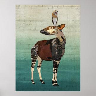 Art d'OKAPI et de HIBOU Poster