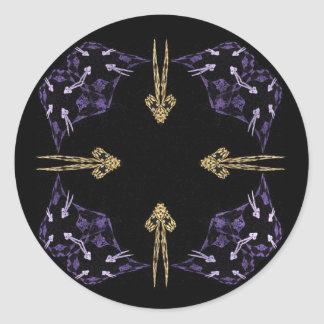 Art d'or de fractale de quatre flèches adhésifs ronds