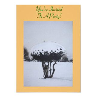 Art d'original de scène de neige de paysage de invitations personnalisées