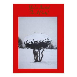 Art d'original de scène de neige de paysage de invitation personnalisée