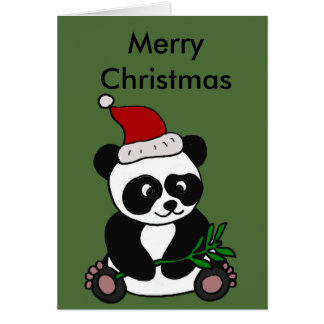Art drôle de Noël d'ours panda Carte De Vœux
