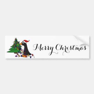 Art drôle de pingouin de Noël Autocollant De Voiture