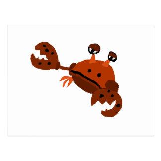 Art drôle de plage de crabe carte postale