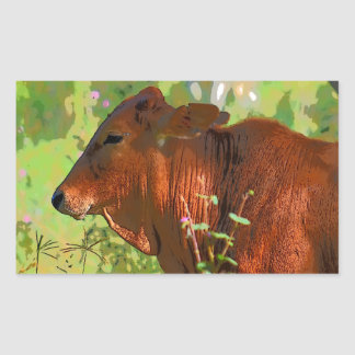 ART DU QUEENSLAND AUSTRALIE DE VACHE STICKER RECTANGULAIRE