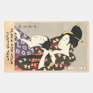 Art d'ukiyo-e d'Utamaro Yuyudo de la coiffure des Sticker Rectangulaire