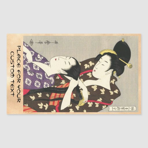 Art d'ukiyo-e d'Utamaro Yuyudo de la coiffure des  Autocollant En Rectangle
