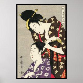 Art d'ukiyo-e d'Utamaro Yuyudo de la coiffure des Posters