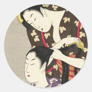 Art d'ukiyo-e d'Utamaro Yuyudo de la coiffure des Sticker Rond