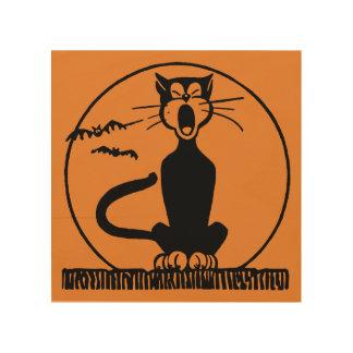 Art en bois de minuit de mur de chat d'allée
