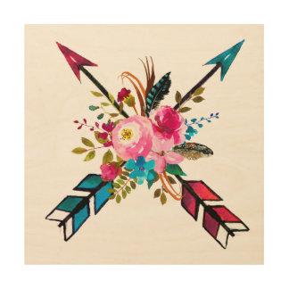 Art en bois de mur de bouquet de flèche de Boho