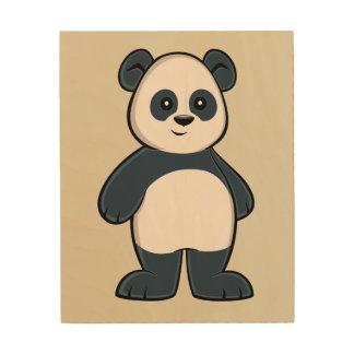 Art en bois de mur de panda mignon de bande