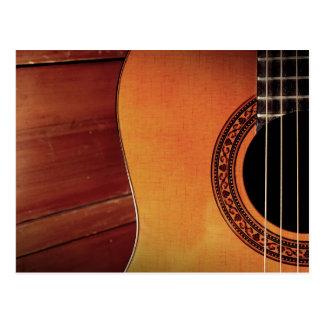 Art en bois d'instrument de musique de guitare carte postale