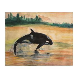 Art en bois sautant de mur de baleine d'orque
