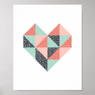 Art en bon état et de corail de coeur de triangle poster