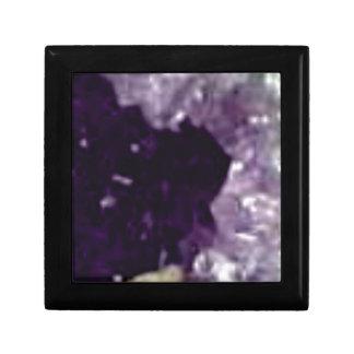 art en cristal en verre pourpre petite boîte à bijoux carrée