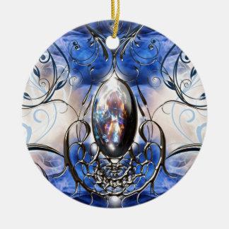 Art en verre bleu fleuri de fantaisie vintage de ornement rond en céramique