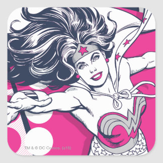 Art fascinant de caractère de femme de merveille sticker carré