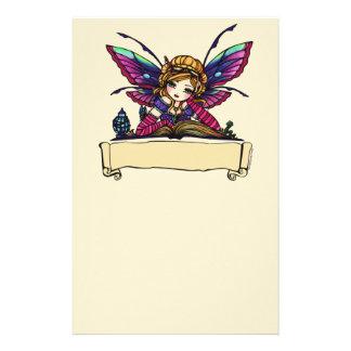 Art féerique d'imaginaire de bibliothèque de rat d papier à lettre personnalisé