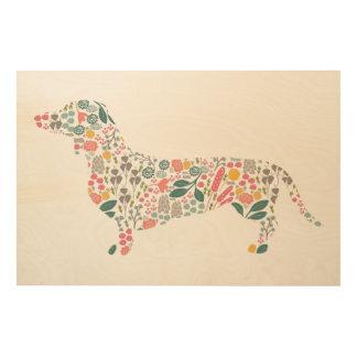 Art floral d'aquarelle de motif de chien de