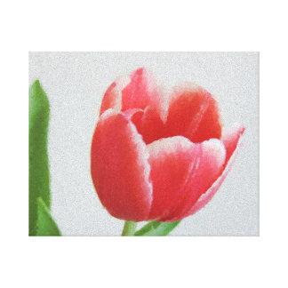 Art floral d'aquarelle de toile de fleur de tulipe