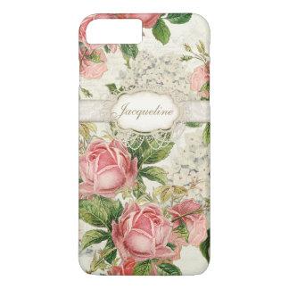Art floral de l'anglais d'hortensia rose vintage coque iPhone 7 plus