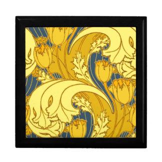 Art floral de motif d'or bleu vintage de rouleau boîte à souvenirs