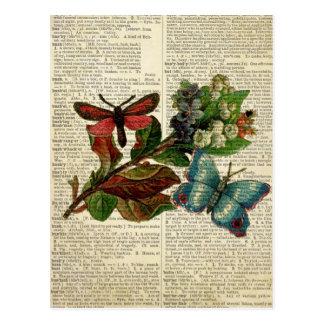 Art floral de papillon à la page vintage de carte postale