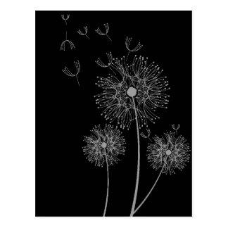 Art floral moderne noir et blanc de pissenlit carte postale
