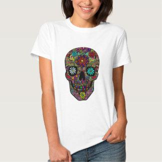 Art floral peint de crâne t-shirt