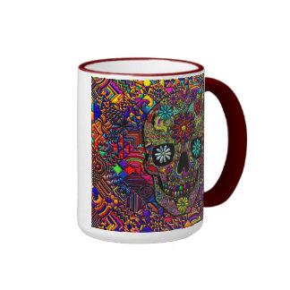 Art floral peint de crâne mug ringer