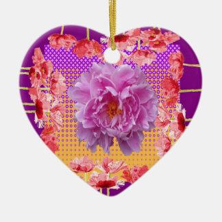 art floral pourpre de pivoine rose ornement cœur en céramique